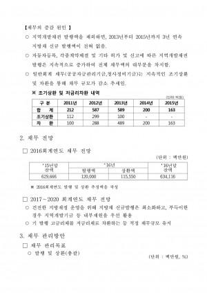 '15채무현황 및 채무관리계획('16~'20