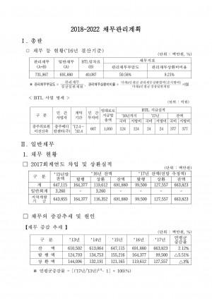 채무현황 및 채무관리 계획(2018~2022)