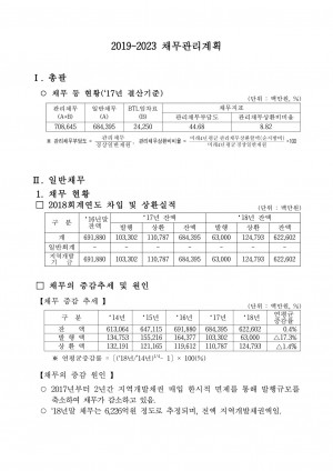 '18채무현황 및 채무관리계획('19~'23