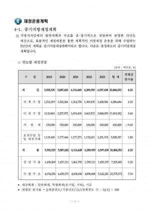 2019 재정운용계획